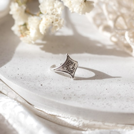 ασημενιο δαχτυλιδι boho αστερι