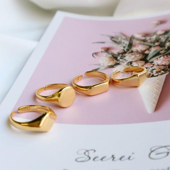χρυσο  δαχτυλιδι γεωμετρικο κωνος