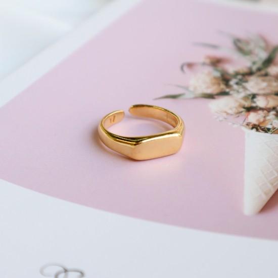 χρυσο δαχτυλιδι γεωμετρικο μπαρα