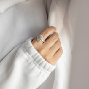 Ginkgo ring silver
