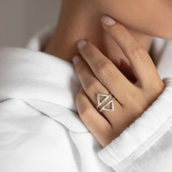 επαργυρο δαχτυλιδι γεωμετρικο