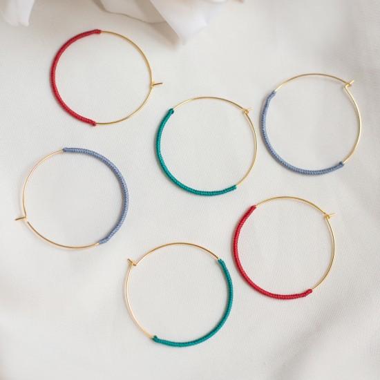 κρικοι σκουλαρικια με χρωματα