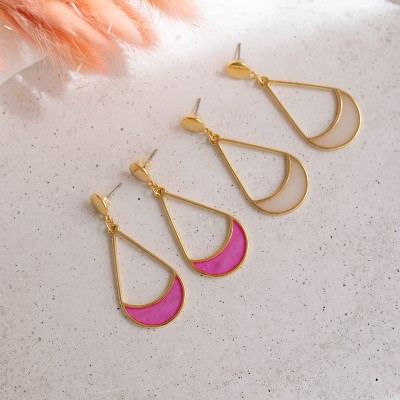 Colores earrings pink white