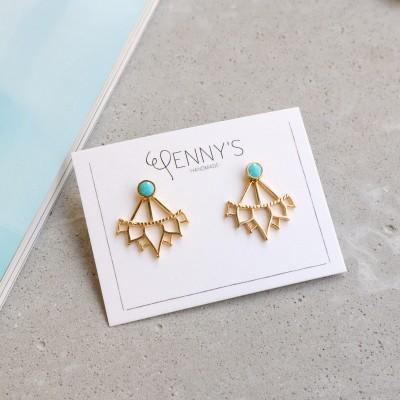 Jacket earrings Lotus Aqua