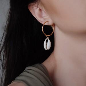Cowrie hoops earrings