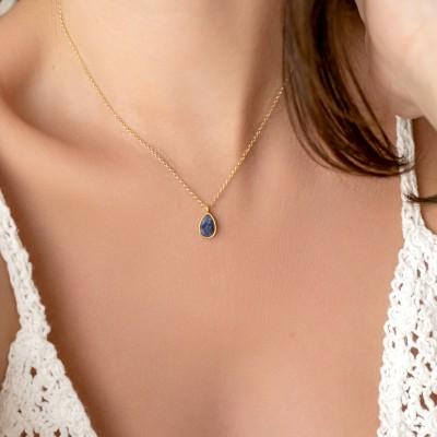 Lapis Lazulis Drop Necklace 925