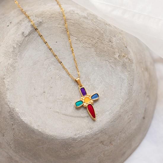κολιε σταυρος με χρωματα
