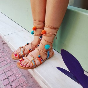 Handmade Boho Gladiator Sandals Friendship Orange