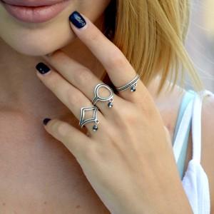 Σετ 3 γεωμετρικά δαχτυλιδια