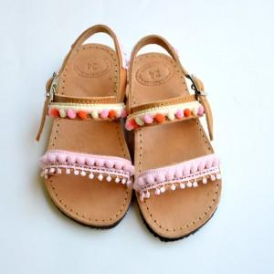 Handmade Baby Sandals Pink Pom poms