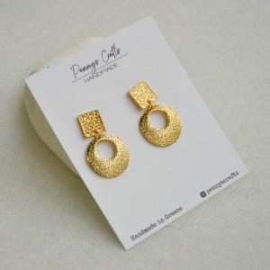 Καρφωτά σκουλαρίκια χρυσά γεωμετρικά