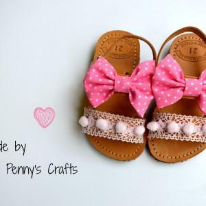 Handmade baby sandal Pink Bow