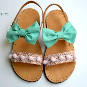 Handmade baby sandal Aqua