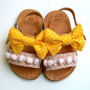 Handmade Baby sandal Yellow Passion