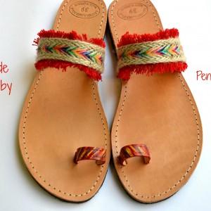 Handmade sandal Ethnic red