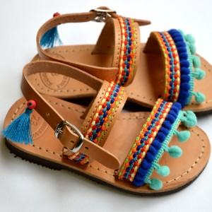 Handmade baby sandals Ethnic Aqua blue