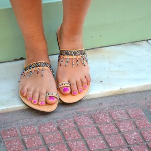 Handmade boho black sandals