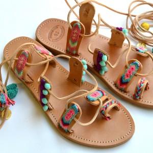 Handmade friendship sandals pastel