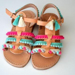 Baby sandals gladiator Aqua Pink
