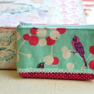 Mini fabric wallet birds