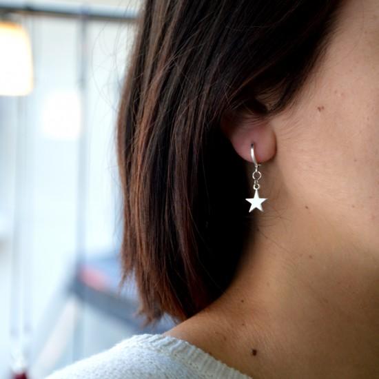 Επάργυρα σκουλαρίκια Μισοφέγγαρο με Αστέρι