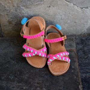 Baby sandals Pink Pom Poms