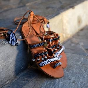 Gladiator Sandals Black and White
