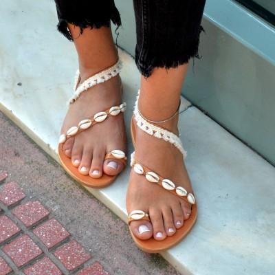 Shells leather sandals