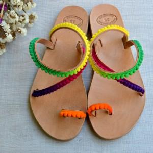 Handmade leather sandals rainbow