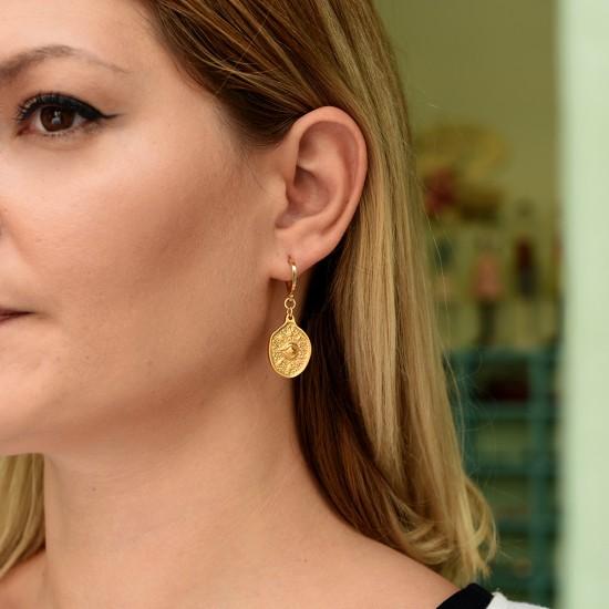σκουλαρικια μικρο κρικακι με χρυσο ματι