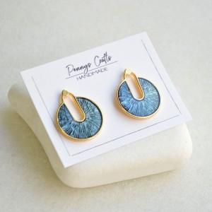 Σκουλαρίκια καρφωτά στρογγυλά Blue